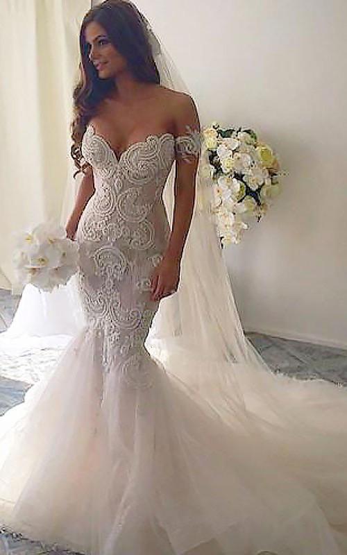 V-neck Lace Tulle Cap Short Sleeve Wedding Dress