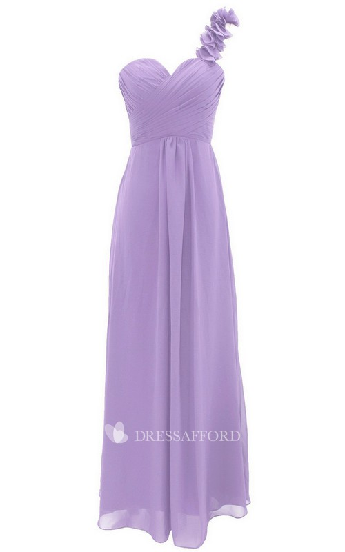 One-shoulder Sweetheart Criss cross Ruched Floor-length Bridesmaid Dress