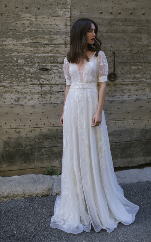 Ethereal Tulle Plunging Neck Floor Length Wedding Dress