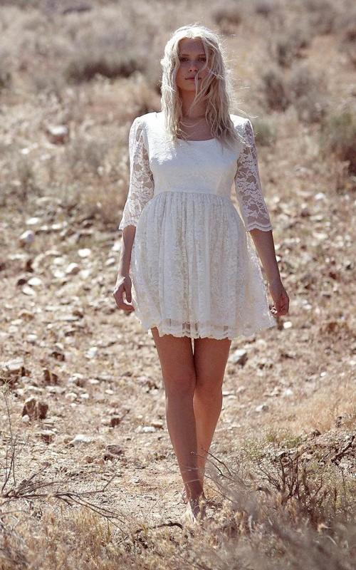 Wedding Pleated Scoop Neckline Short Illusion-Sleeve Dress