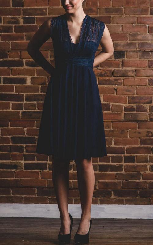 V-neck Sleeveless Knee-length Chiffon Dress With Lace And bow