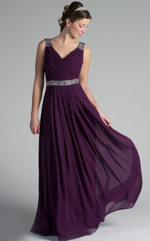 V Neck Back Dropping Chiffon Long Bridesmaid Dress With Crystal Straps And Waist