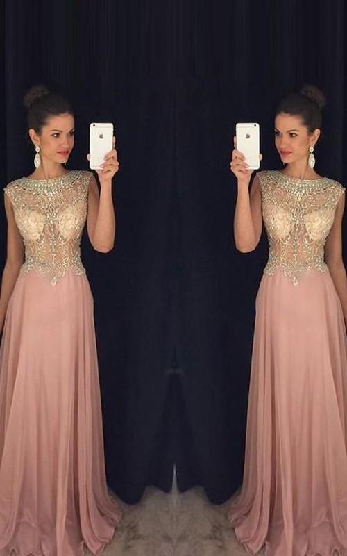 Scoop-Neck Brush-Train Princess A-Line Chiffon Dress