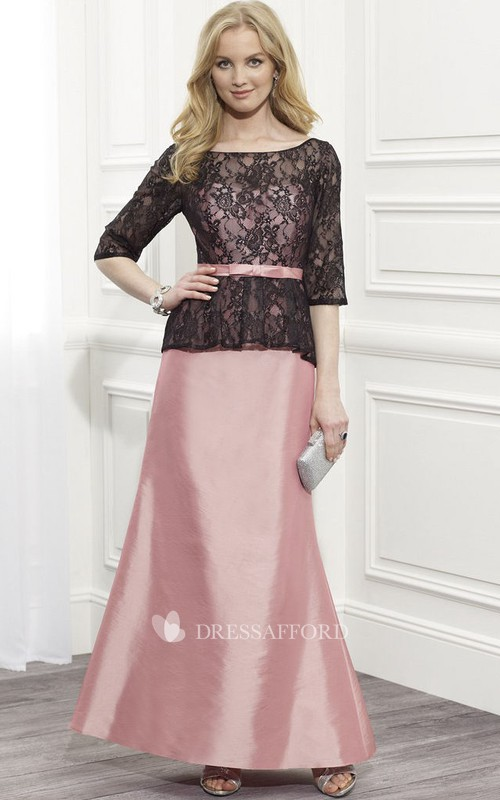 Satin Sash Low-V Back Half-Sleeve Lace Dress