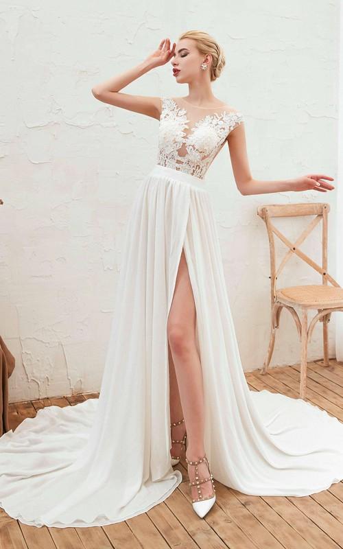 Elegant A-line Cap Sleeve Split Front Illusion Lace Appliqued Chiffon Bridal Gown