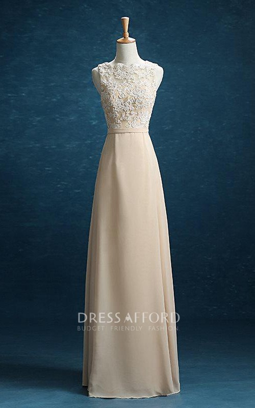 Maxi Strapped Chiffon Dress With Lace And Belt