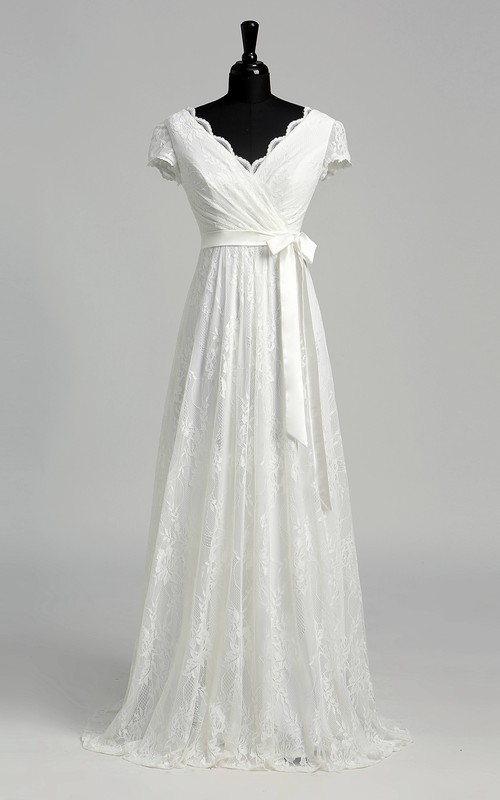 A-line Lace Scalloped V-neck Floor-length Short Sleeve Criss Cross Ruched Wedding Dress