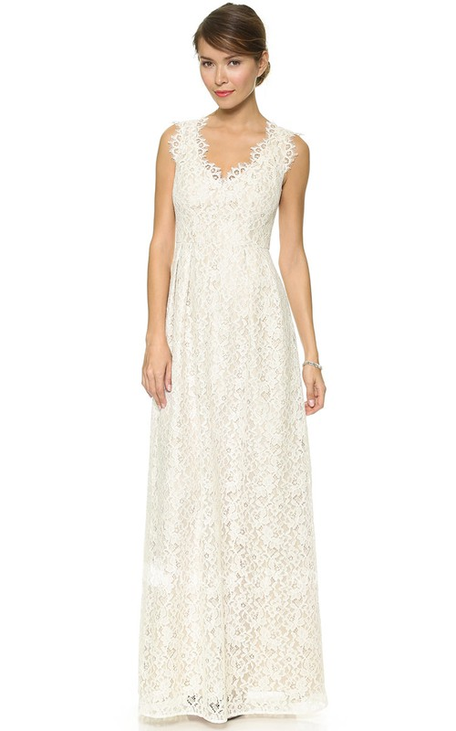 Sheath Side Draping Floor-Length-Neck Long Lace Dress