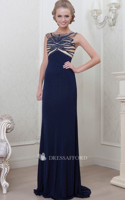 A-Line Sleeveless Long Bateau-Neck Jersey Evening Dress
