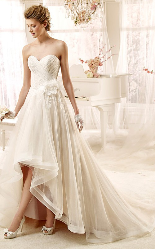 gossamery Tulle Sweetheart High-low Wedding Dress With Appliques And flower
