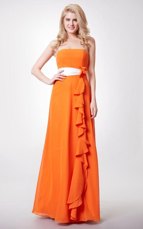 Chiffon Floral Scalloped-Neck Sassy Floor-Length Dress