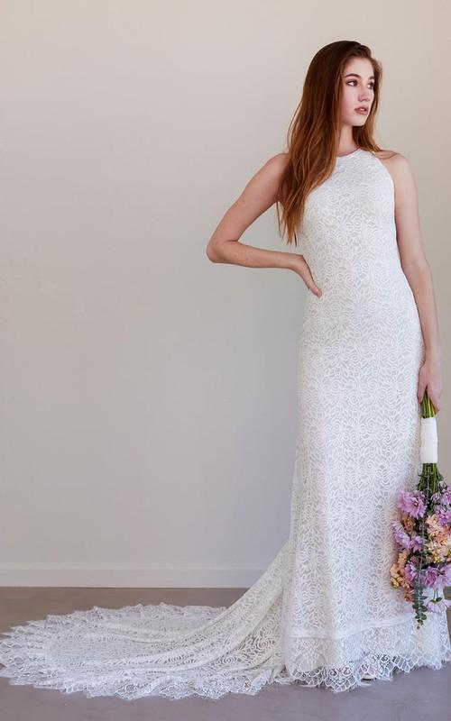Simple Bohemian Sleeveless Sheath Lace Jewel Wedding Dress with Train