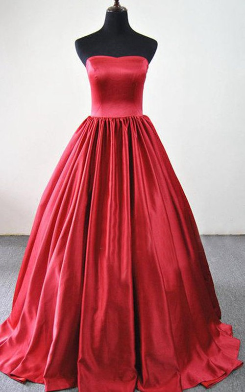 Strapless Satin A-line Ball Gown With Pleats And Court Train