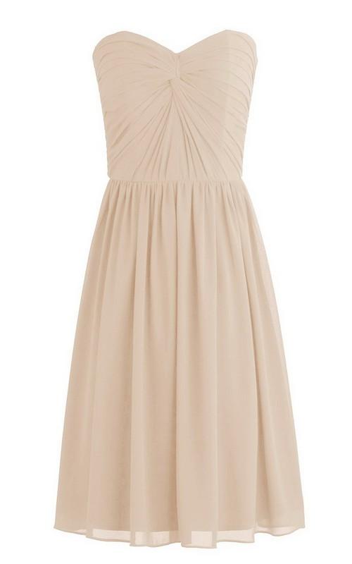 Short Pleated Knot Detail Sleeveless Sweetheart Dress
