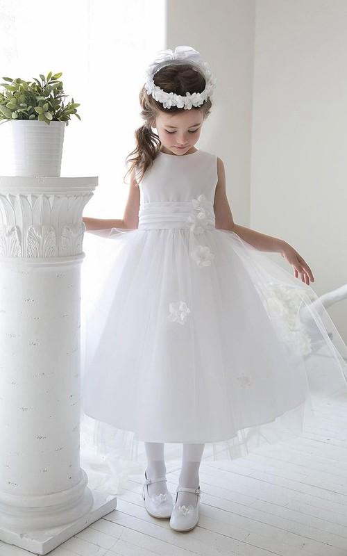 Tulle Slit-Front 3-4-Length Sequined Flower Girl Dress