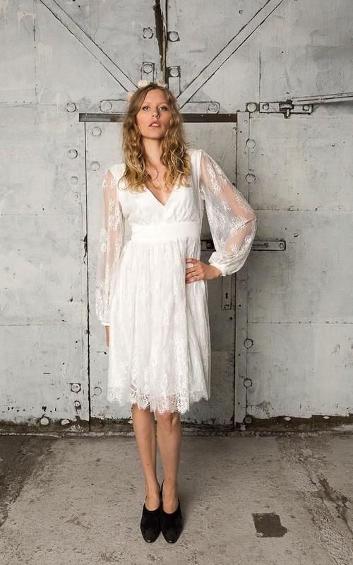 V-Neckline Wedding Open-Back Bohemian Lace Dress