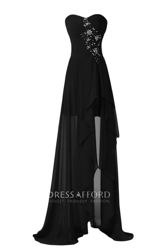 Draping Appliques Front-Slit Strapless Dress