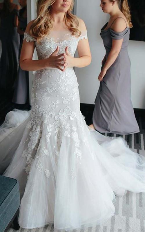 Off-the-shoulder Lace Tulle Cap Short Sleeve Wedding Dress