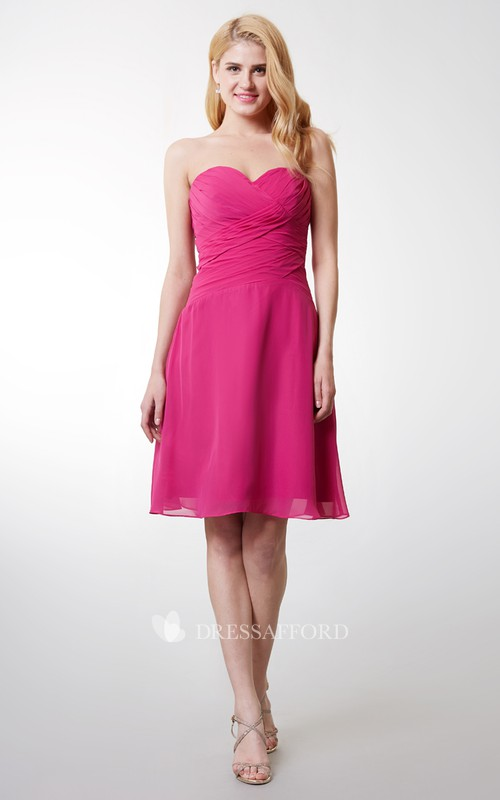 Ruched Backless Chiffon Sleeveless Sweetheart Short Gown