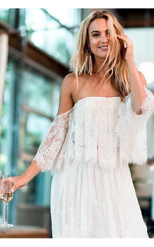 A-Line Bohemian Short Sleeve Off-The-Shoulder Backless Beach Wedding Dress