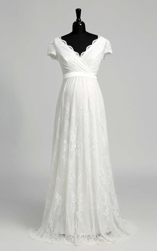 V-neck Short Sleeve Empire Maternity Bow Sash Ribbon Wedding Dress