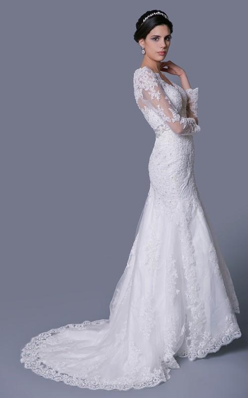 Jewels Crystal Brooch Long-Sleeve V-Neckline Gown