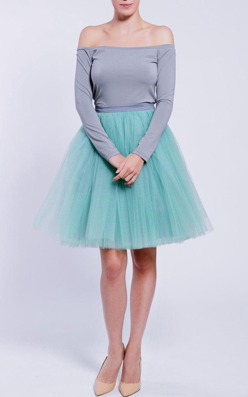 Two-tone Off-the-shoulder Long Sleeve short Tulle A-line Dress