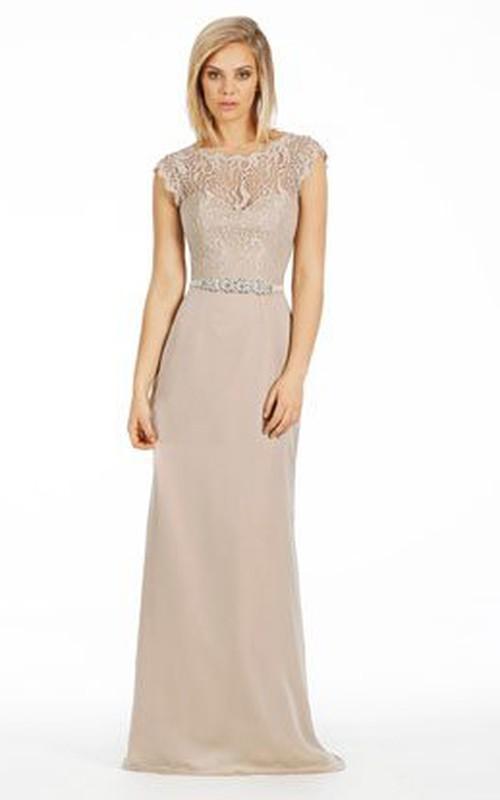 Bateau Cap-sleeve Sheath Dress With Lace And Waist Jewellery