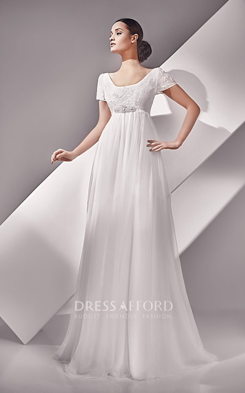 Scoop-Neck Crystal Short-Sleeve High-Waist Dress