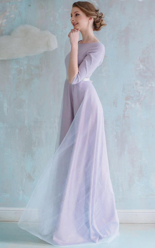 Scoop-neck Half Sleeve Floor-length Dress With bow And Low-V Back