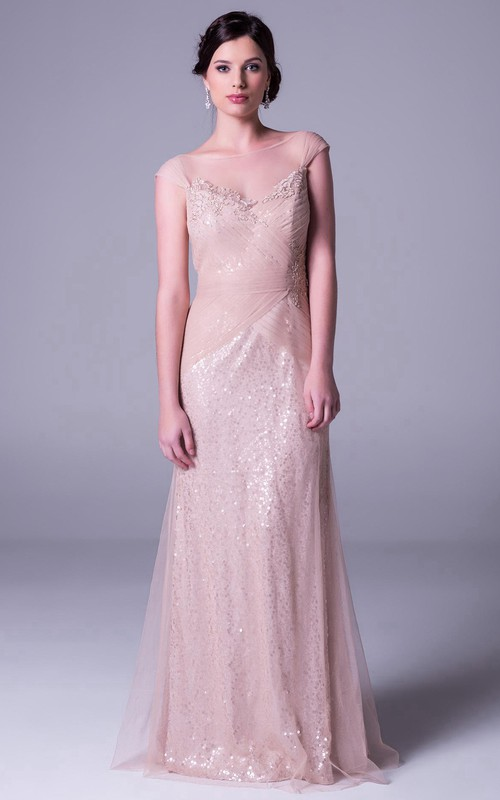 Bateau Illusion Cap-sleeve Tulle Dress With Sequins