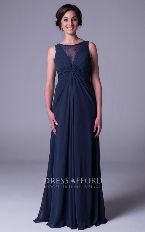 Scoop-neck Sleeveless Chiffon Dress With central Ruching And Illusion