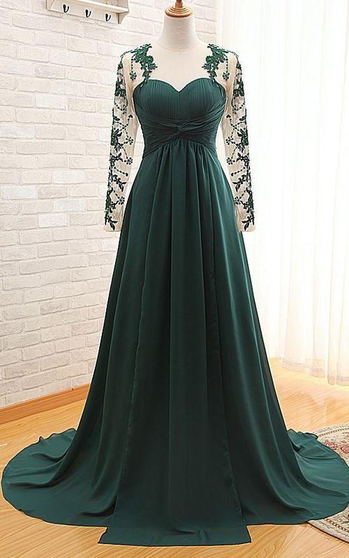 Green Chiffon Long Appliqued Long-Sleeve Elegant Dress