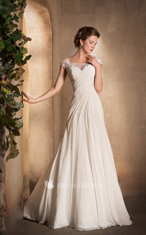 A-Line Long Scoop-Neck Cap-Sleeve Chiffon Dress With Ruching And Appliques