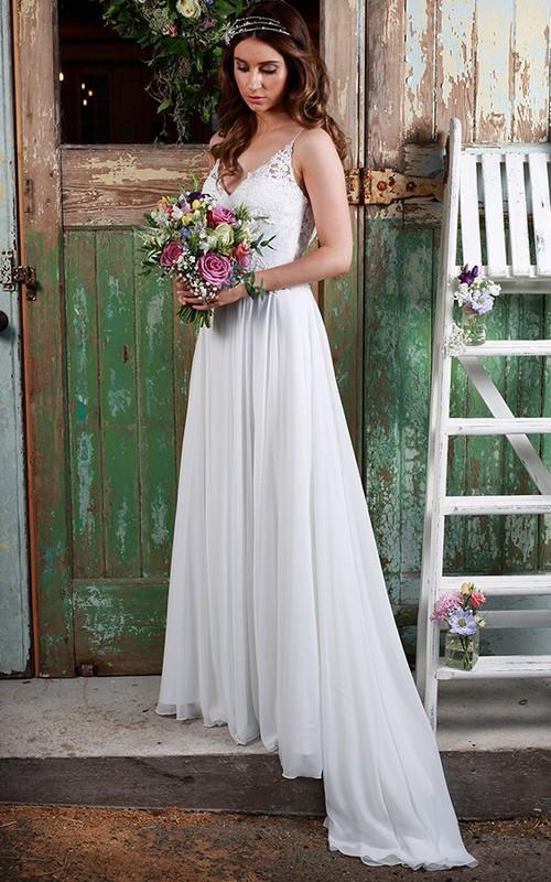 V-neck Spaghetti Chiffon Wedding Dress With Pleats And Illusion back
