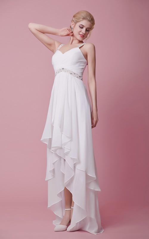 Chiffon Strapped Sleeveless-Top Shimmering Dress