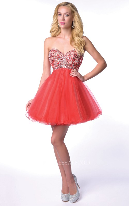 Mini A-Line Tulle Sweetheart Homecoming Dress With Shining Corset