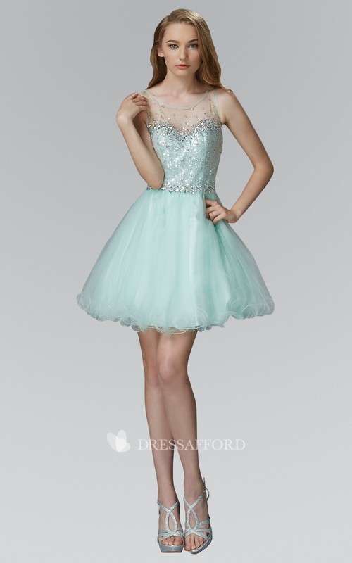 A-Line Short Scoop-Neck Sleeveless Tulle Illusion Dress With Sequins And Ruffles
