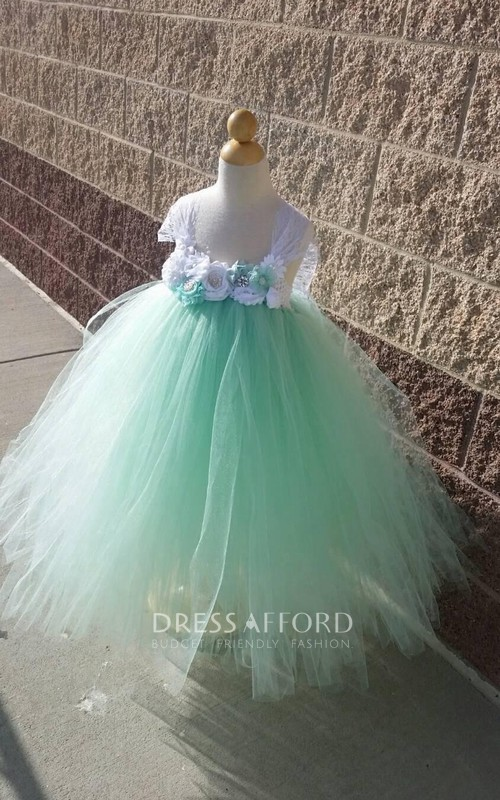 High-Waist Vintage Floral Mint Beautiful Tutu Dress