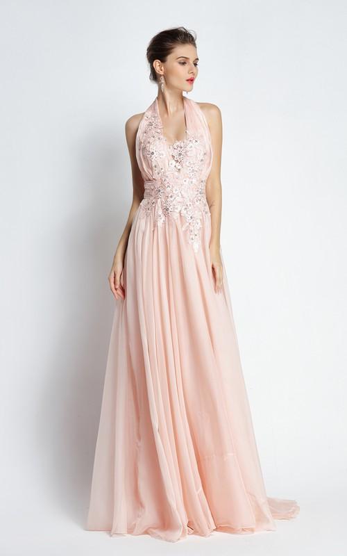 Floor-length Sweep Brush Train A-Line Halter Sleeveless Chiffon Prom Dress with Beading and Pleats