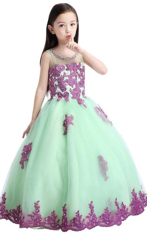 Appliqued Sequins A-Line Sleeveless Dress