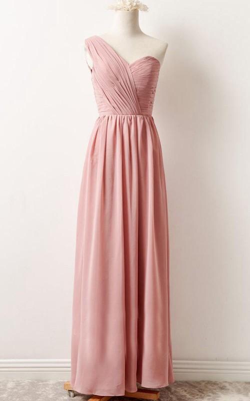 Sleeveless One-shoulder Chiffon Floor-length Bridesmaid Dress With Ruching