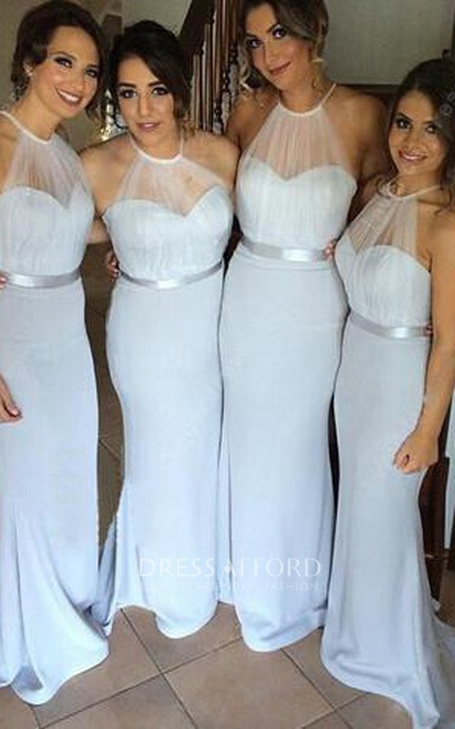 Fishtail Illusion Inspire Floor-Length High-Neckline Chiffon Gown