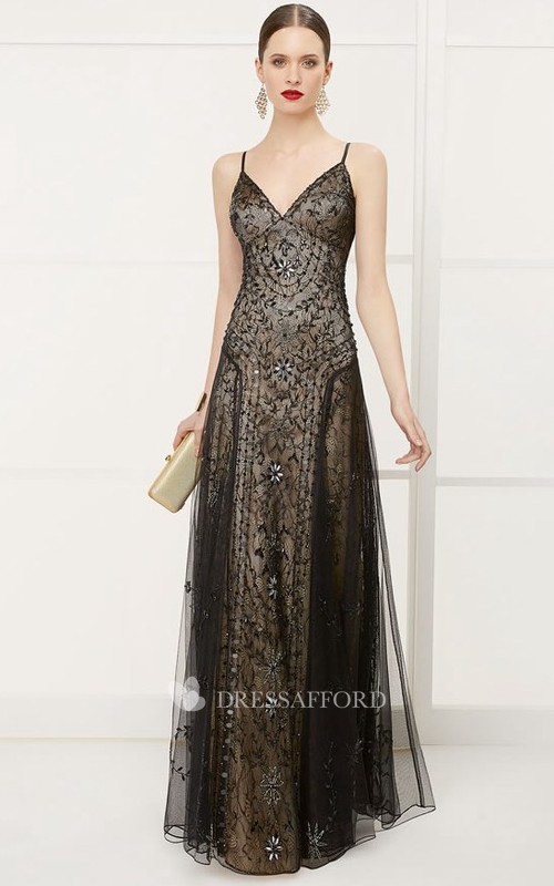 refined Spaghetti Sleeveless Tulle Lace Dress With Crystal Detailing
