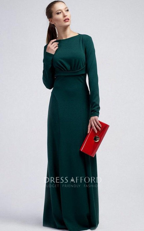 sheer Long Sleeve Sheath Floor-length Dress With Zipper