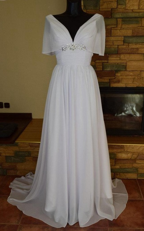 Lace-Up Back Rhinestones Chiffon Pleated Gown