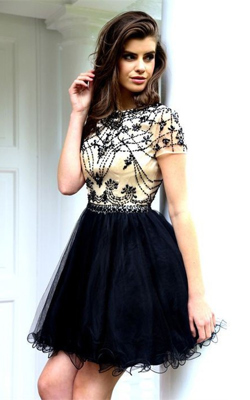 Short Sleeve fit And flare Dress With Ruffles rhinestones