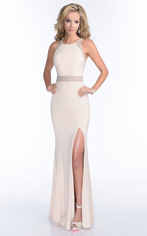 Sleeveless Sheath Jersey Front-split Prom Dress With Beading And Illusion