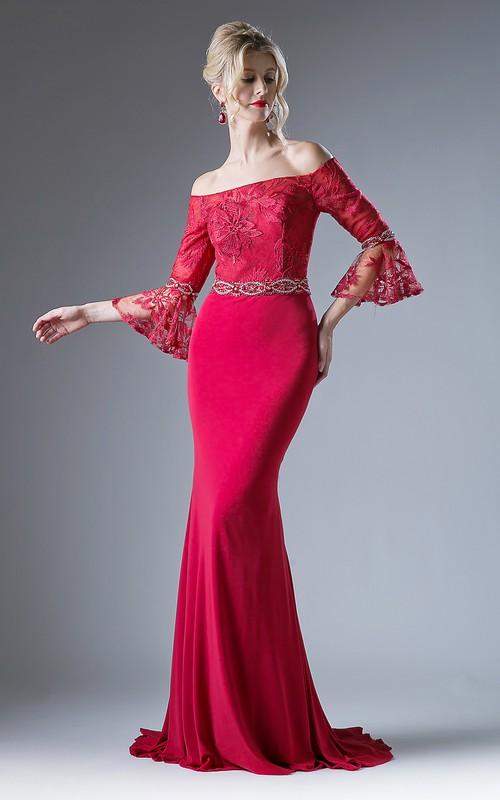 Column Appliqued Jeweled Long Off-The-Shoulder Jersey Bell-Sleeve Keyhole Dress