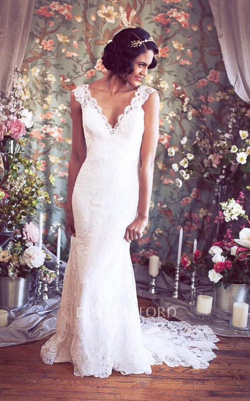 Mermaid V-Neckline Bridal Cap-Sleeves Long Lace Gown